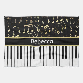 Musical Notes and Piano Keys Black and Gold Tea Towel