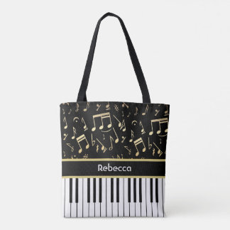 Musical Notes and Piano Keys Black and Gold Tote Bag