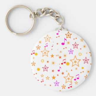 Musical Notes and Stars: Basic Round Button Key Ring