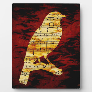 Musical Notes Bird Silhouette Plaque