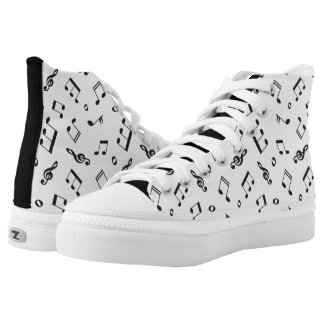 Musical Notes Black and White High Tops