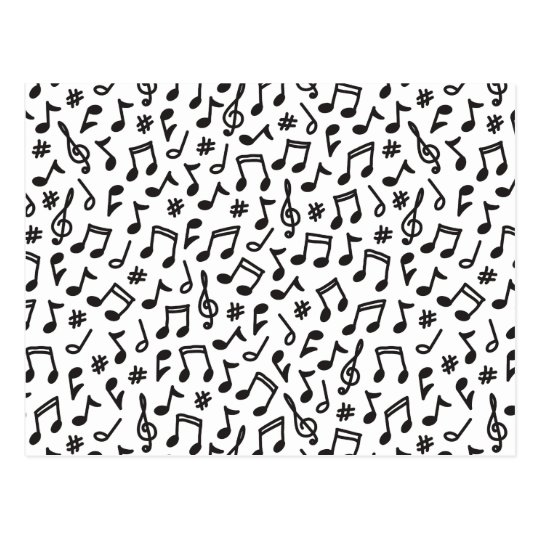 Musical notes black white scribbly music pattern postcard