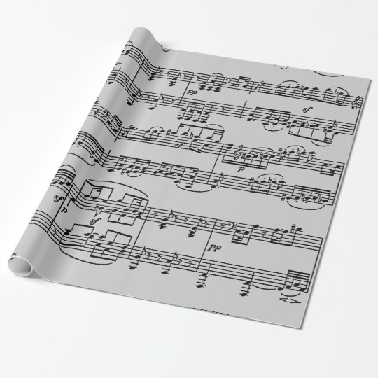musical notes black & white wrapping paper