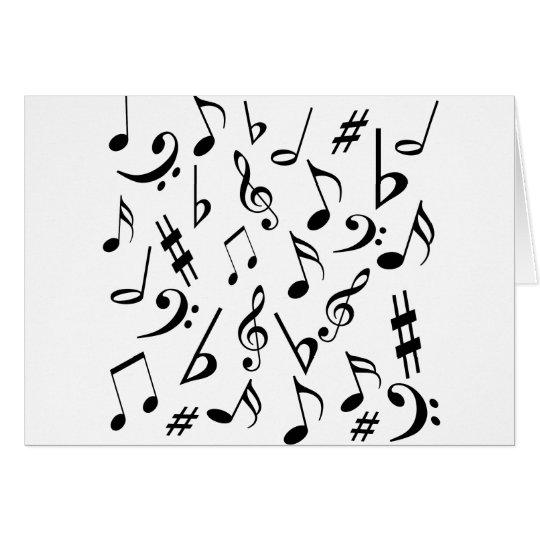 Musical Notes Card - White and Black