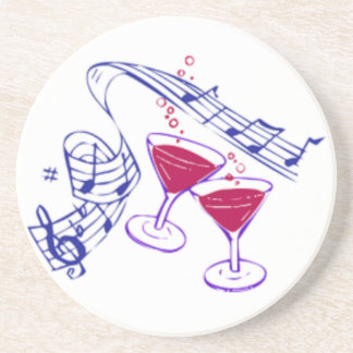 Musical Notes Champagne Glasses Coaster