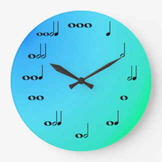 Musical Notes Clock on Blue and green