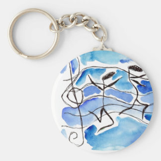 Musical Notes Come to Life Music Adds Joy to Life Basic Round Button Key Ring