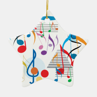 Musical Notes Ceramic Star Decoration