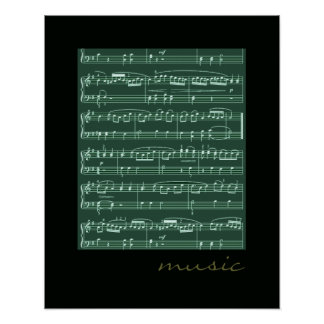 musical notes decorative walls poster