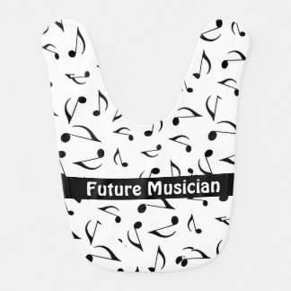 Musical Notes Design Baby Bib