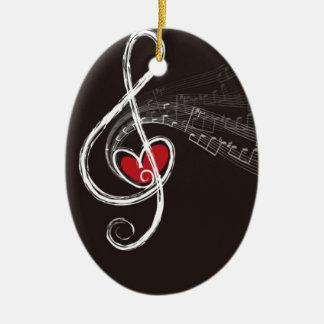 Musical Notes Design Ceramic Oval Decoration