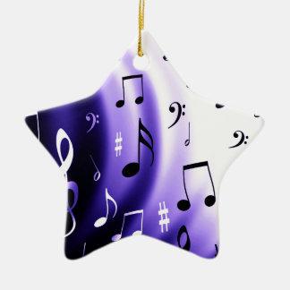 Musical Notes Design Ceramic Star Decoration
