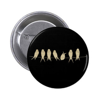 Musical Notes Group of Birds 6 Cm Round Badge