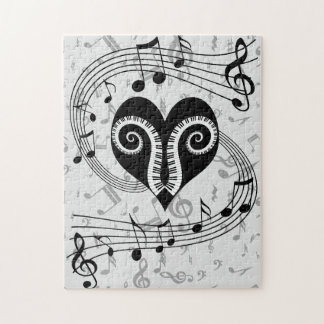 Musical notes heart and piano keys jigsaw puzzle