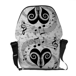 Musical notes heart and piano keys commuter bag
