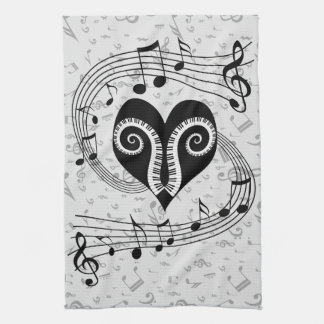 Musical notes heart and piano keys tea towel