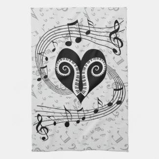 Musical notes heart and piano keys tea towel