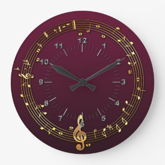 Musical notes large clock