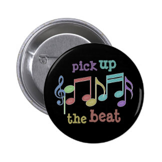 Musical Notes Linear Multicolor PICK UP THE BEAT 6 Cm Round Badge