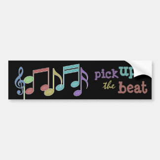Musical Notes Linear Multicolor PICK UP THE BEAT Bumper Sticker