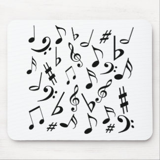 Musical Notes Mousepad - Black and White