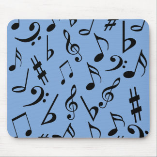 Musical Notes Mousepad - Sky Blue and Black