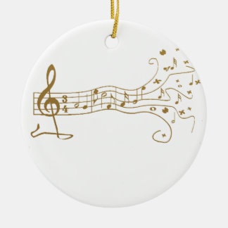 MUSICAL NOTES ON FUN  PENTAGRAM - HAPPY MUSIC GIFT ROUND CERAMIC DECORATION