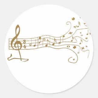MUSICAL NOTES ON FUN  PENTAGRAM - HAPPY MUSIC GIFT ROUND STICKER
