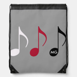 musical notes on gray with intials drawstring backpacks