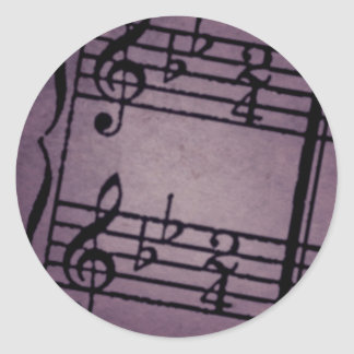 Musical Notes on Rough Purple Classic Round Sticker