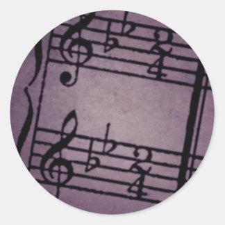 Musical Notes on Rough Purple Round Sticker