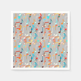 Musical Notes print - Medium Grey, Multi Paper Serviettes