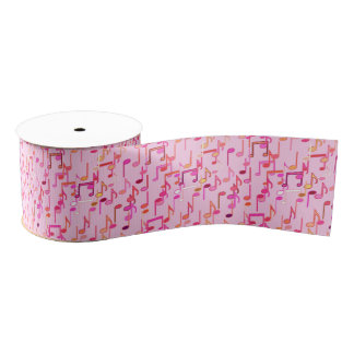 Musical Notes print - pink, multi Grosgrain Ribbon