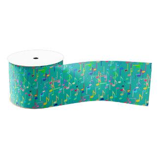 Musical Notes print - turquoise, multi Grosgrain Ribbon