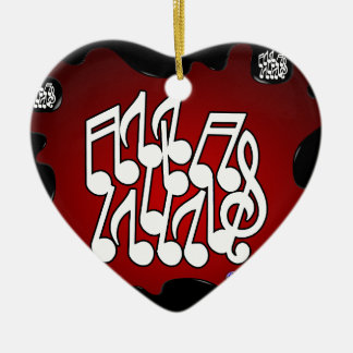 MUSICAL NOTES RED BACKGROUND PRODUCTS CHRISTMAS TREE ORNAMENT