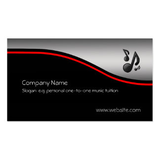 Musical Notes, red swoosh, metallic-look Pack Of Standard Business Cards