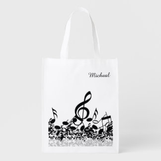 Musical Notes Reusable Grocery Bag Custom Name