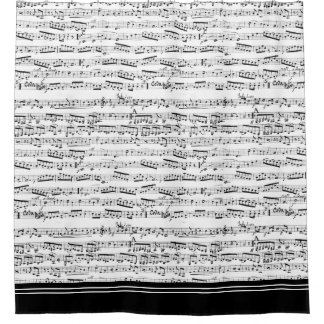 Musical notes shower curtain with black trim
