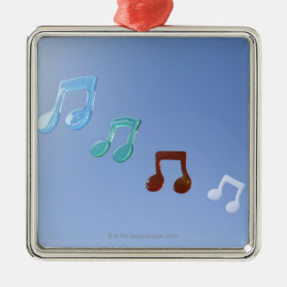 Musical Notes Silver-Colored Square Decoration