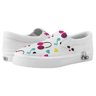Musical Notes Skulls Headphones and Hearts Pattern Slip-On Shoes