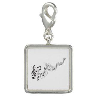 Musical Notes - Square Charm, Silver Plated