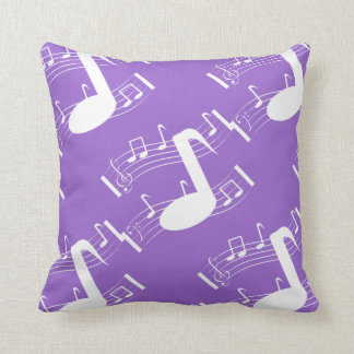 Musical Notes Throw Pillow Lavender & White