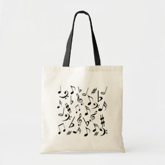 Musical Notes Tote Bag - White & Black