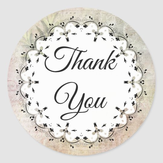 Musical Notes Vintage Thank You Stickers