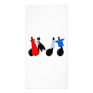 Musical Notes Wearing Clothes Custom Photo Card