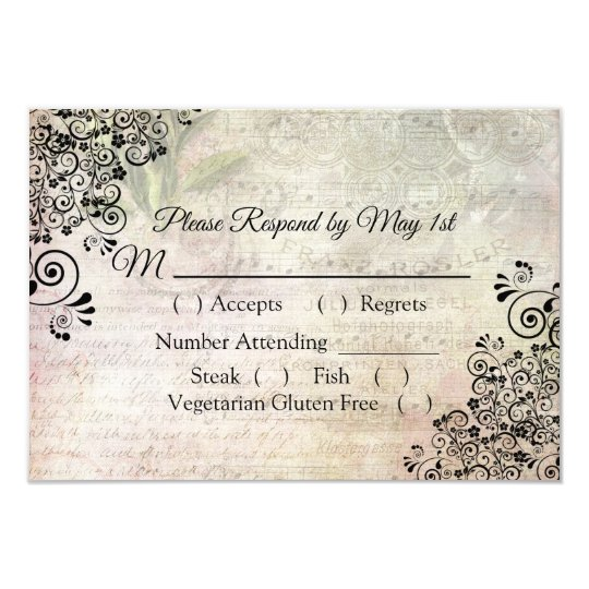 Musical Notes Wedding RSVP card