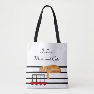 Musical orange tabby tote bag