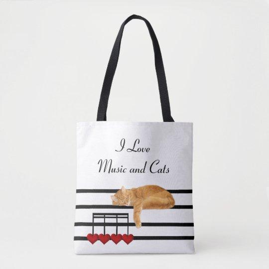 Musical orange tabby tote bag