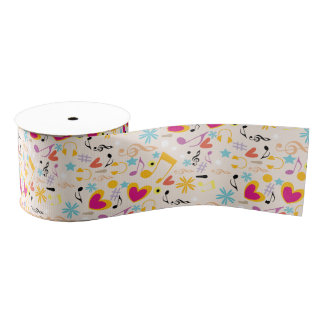 Musical Pattern in Abstract Grosgrain Ribbon