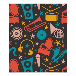 Musical Pattern - Instruments Poster